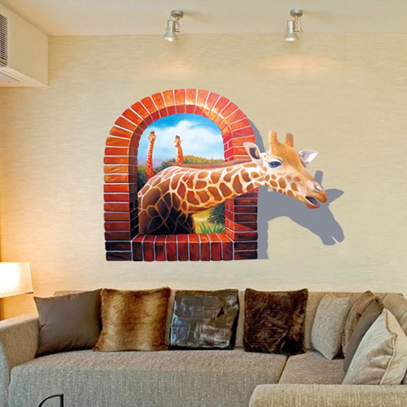 立体卡通贴纸动物3d墙贴浴室卫生间防水背景可移除贴纸画-小簧人