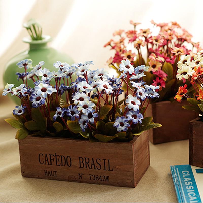 客厅餐桌摆花室内装饰花仿真花束栅栏插花摆件-蓝色小