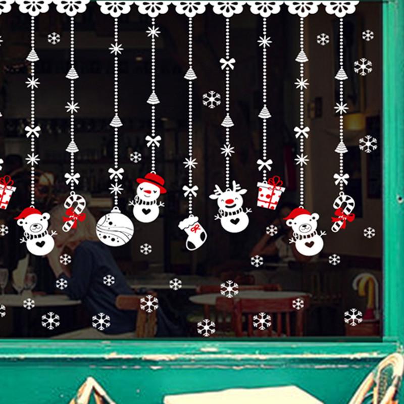 圣诞节雪景装饰品店铺橱窗玻璃贴纸客厅墙壁贴画卡通可移除墙贴纸-b款