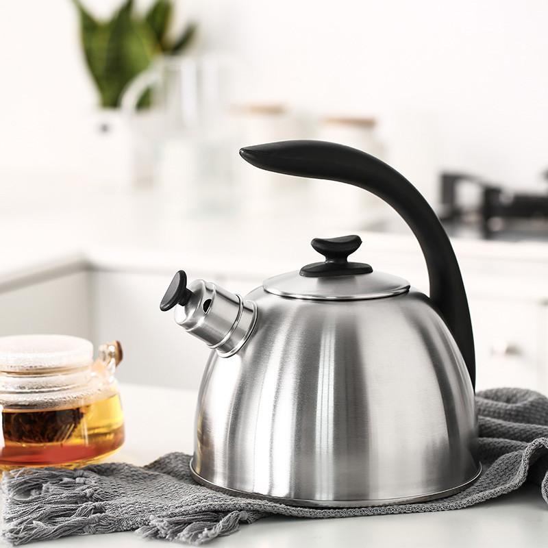 不锈钢鸣笛水壶家用电磁炉热水壶开水壶烧水壶-银色