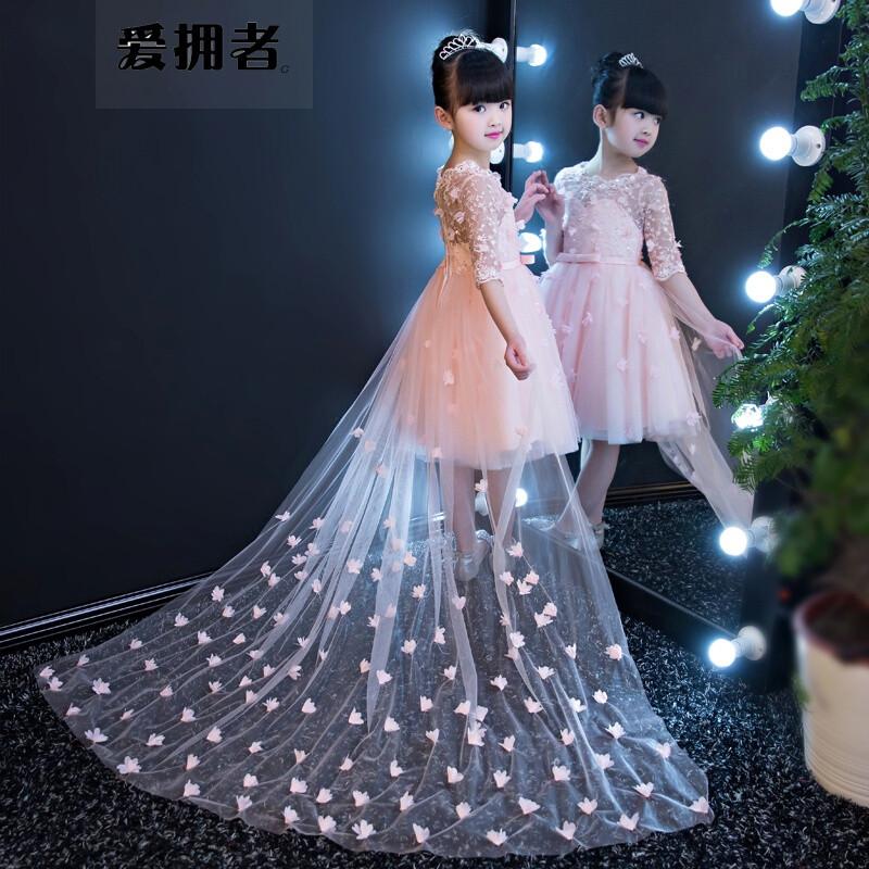 爱拥者女童生日晚礼服公主裙拖尾儿童婚纱蓬蓬裙夏季花童走秀钢琴演出图片