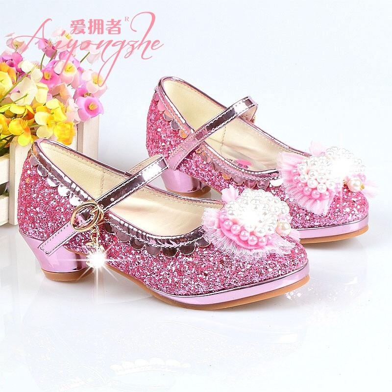 爱拥者女童高跟鞋单鞋春秋新款儿童公主鞋韩版珍珠蝴蝶皮鞋中大童鞋