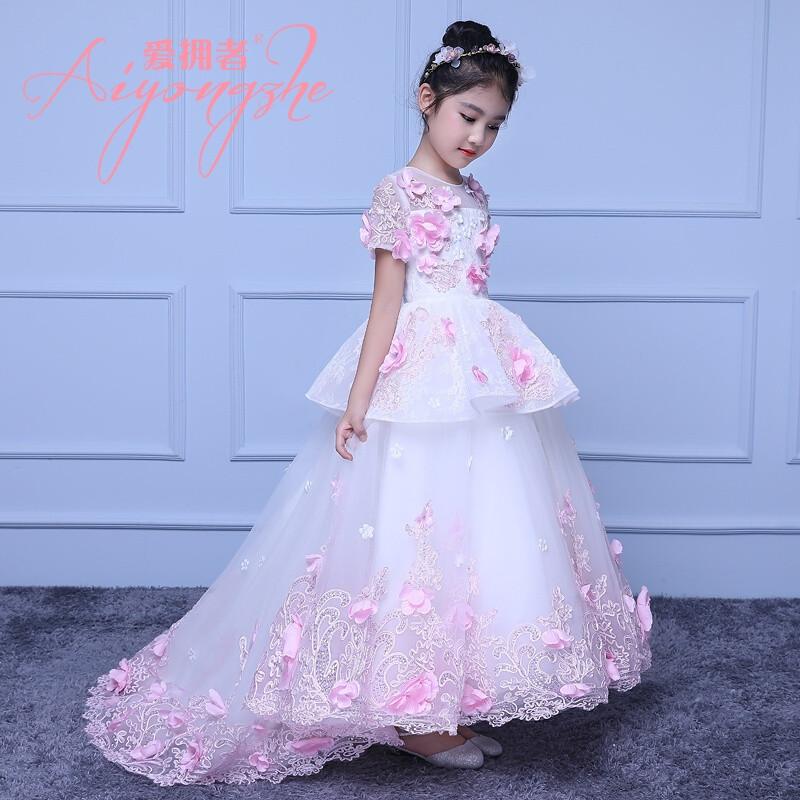 爱拥者儿童礼服女童生日公主裙模特走秀演出服超大裙摆拖地蓬蓬裙大图片