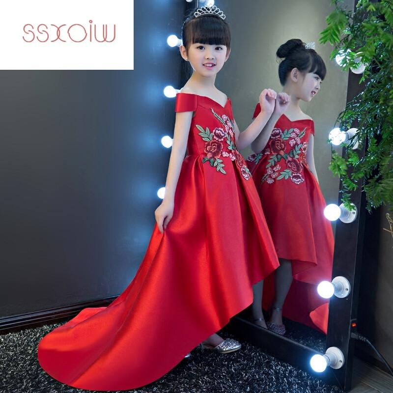 SSXOIW女童礼服公主裙红色夏大童儿童婚纱蓬