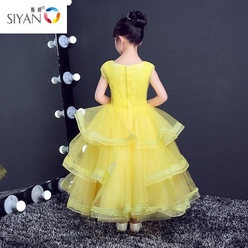 斯妍貝爾公主裙女童迪士尼兒童禮服蓬蓬裙長裙演出服美女與野獸裙子