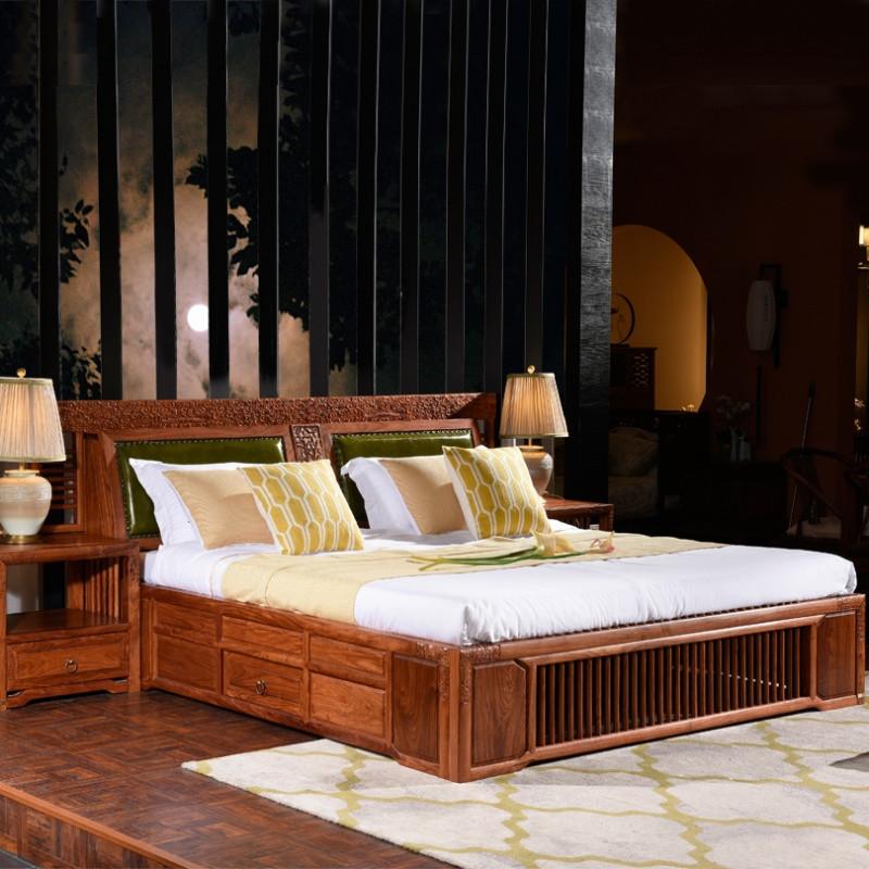 摩纳小镇新中式红木床实木床成人中式双人床刺猬紫檀储物家具婚床