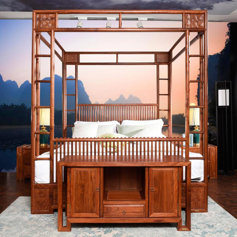 龙森家具 新中式红木床刺猬紫檀实木床成人中式双人床
