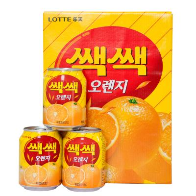 樂天(LOTTE) 橙汁238mlx12罐 進口果汁飲料整盒 帶果肉的果汁