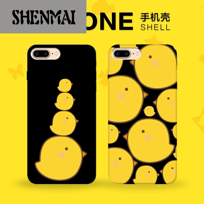 shm品牌 iphone7手机壳6s可爱卡通i7黑底黄色鸡5se苹果6plus硬壳