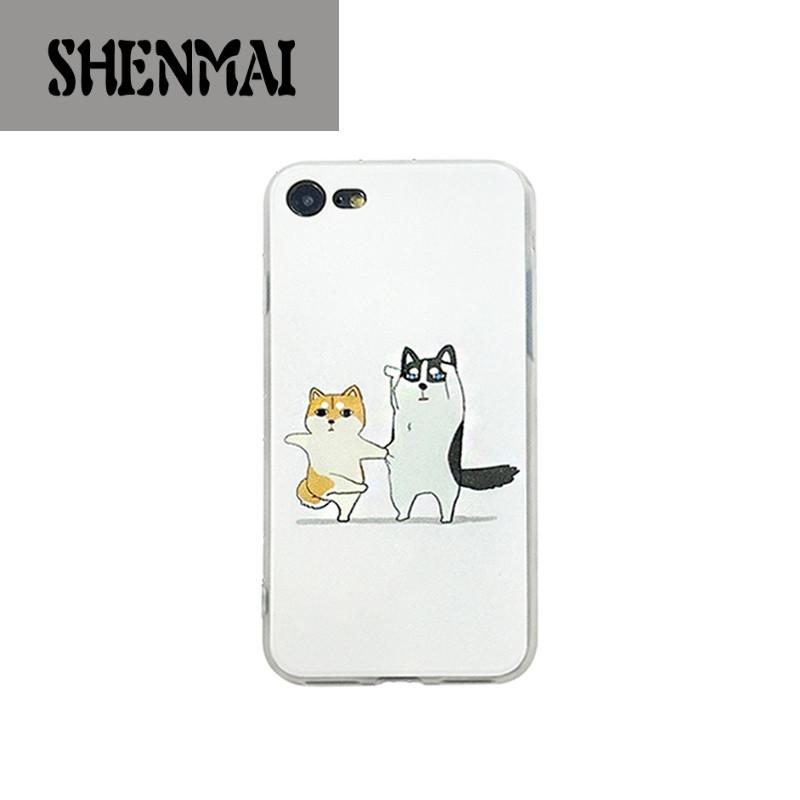 shm品牌可爱恶搞怪柴犬狗iphone7手机壳挂绳苹果7plus