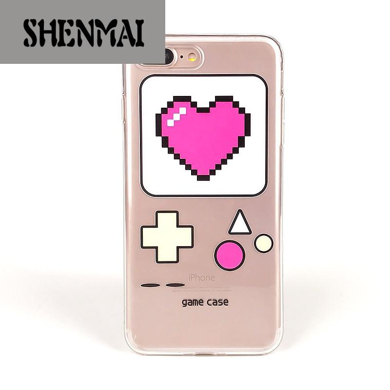 shm品牌日韩笑脸爱心iphone7苹果6plus手机壳7p软胶卡通防摔壳6透明软