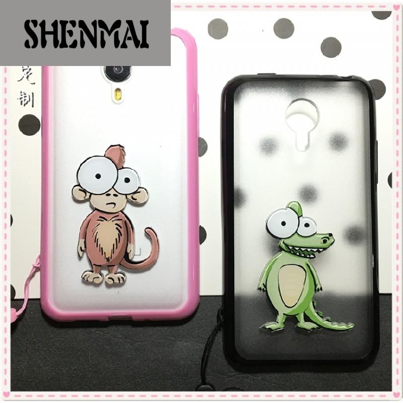 shm品牌魅族4卡通mx4手机壳猴子保护套鳄鱼磨砂软边可爱韩式动物