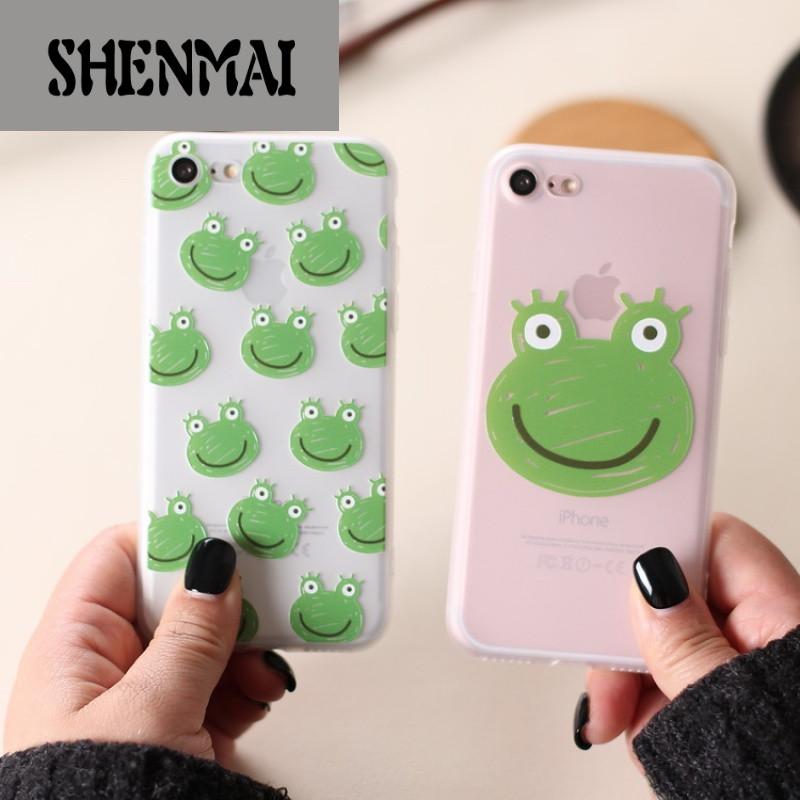 shm品牌iphone7手机壳苹果7plus手机套6s浮雕韩版女款可爱青蛙硅胶