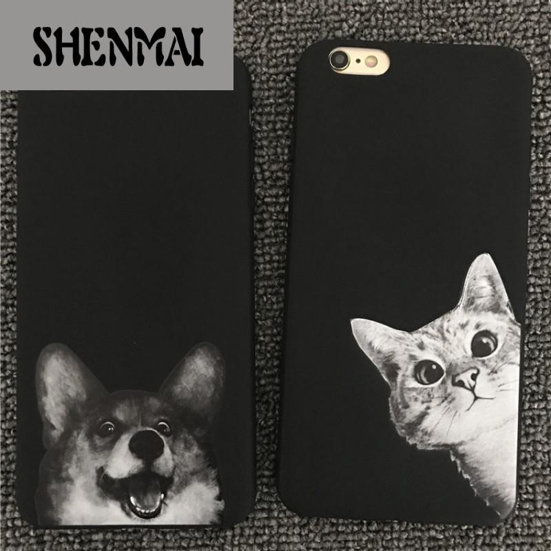 shm品牌情侣苹果iphone6plus手机壳猫咪狗 7plus保护套8可爱6s软壳7外