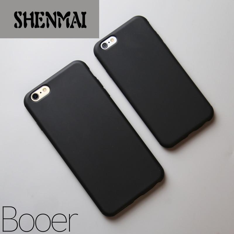shm品牌简约黑色苹果6手机壳iphone6plus硅胶防摔保护套6s纯黑潮男士