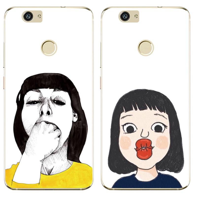 622款华为nova/caz-al10手机壳软欧美搞怪创意卡通可爱嘟嘴挂绳硅胶套