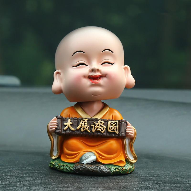 洛玛 汽车小沙弥卡通小和尚摆件创意摇头弥勒佛像可爱