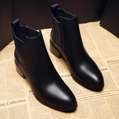 2019短靴女中跟马丁靴粗跟单靴真皮尖头高跟鞋短筒加绒潮女靴子欧美秋冬豆乐奇中跟(3-5厘米)橡胶(真皮)