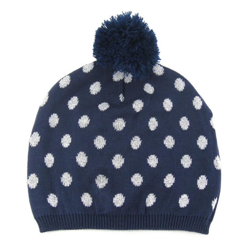 婴儿帽子秋冬季女童针织帽藏蓝波点儿童毛线帽潮宝宝套头帽