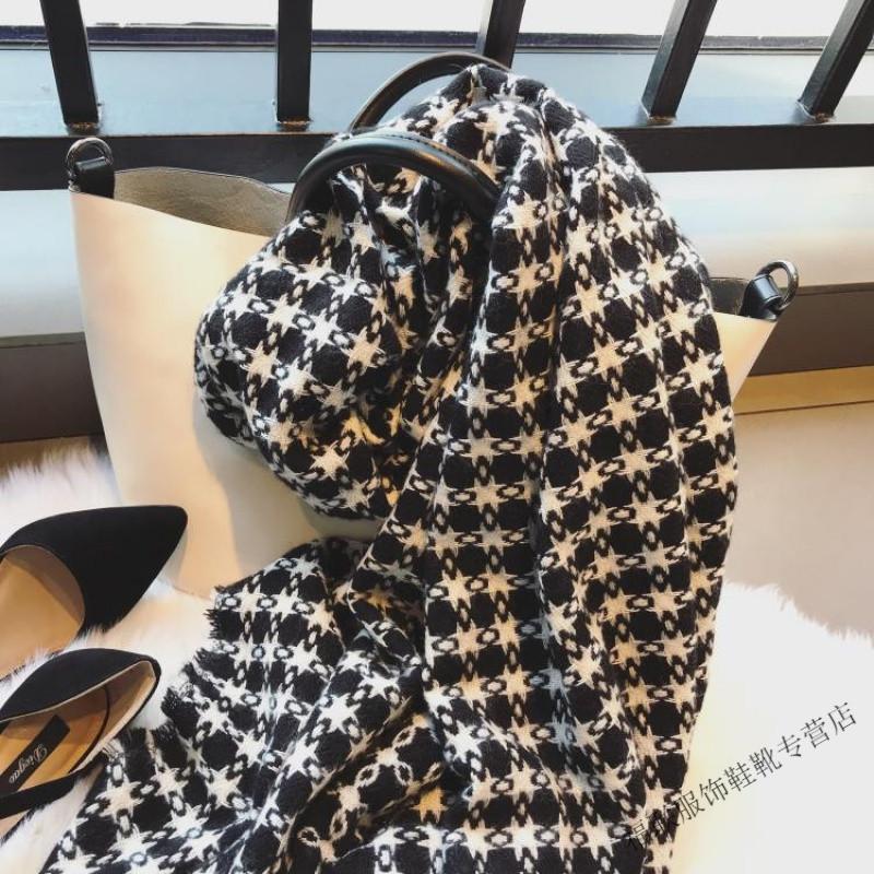 韩版围巾女冬季编织毛边闪闪银丝毛线针织围巾学生保暖围脖大披肩