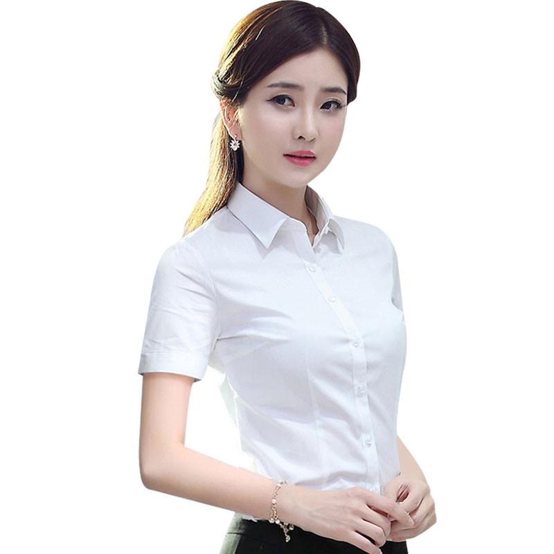 2017白衬衫女短袖显瘦职业工装正装夏季新款棉寸衫银行工作服女士衬衣