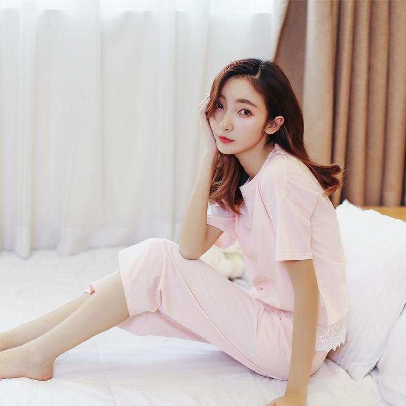 新款睡衣女夏纯棉韩版短袖七分裤甜美可爱花边公主学生家居服夏季套装