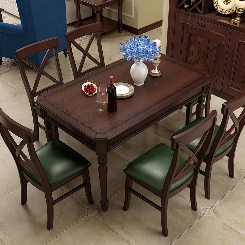 亚伯伦 全实木餐桌 美式乡村餐桌椅组合 复古欧式长方形餐厅饭桌子 白