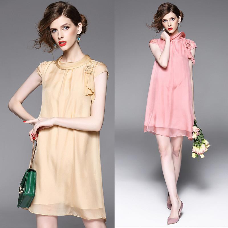 真丝连衣裙修身显瘦a字裙夏装纯色宽松大码连衣裙度假图片