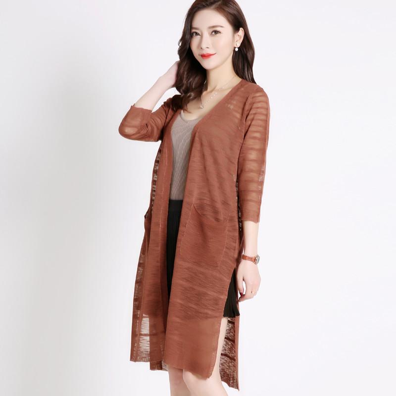 韩版宽松纯色针织衫女开衫中长款薄款女士外套夏天外搭披肩长衫潮