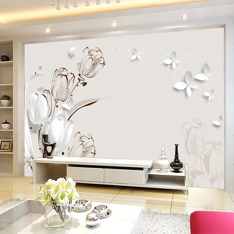 塞拉维现代简约墙纸壁画郁金香墙布客厅沙发电视背景墙无缝定做