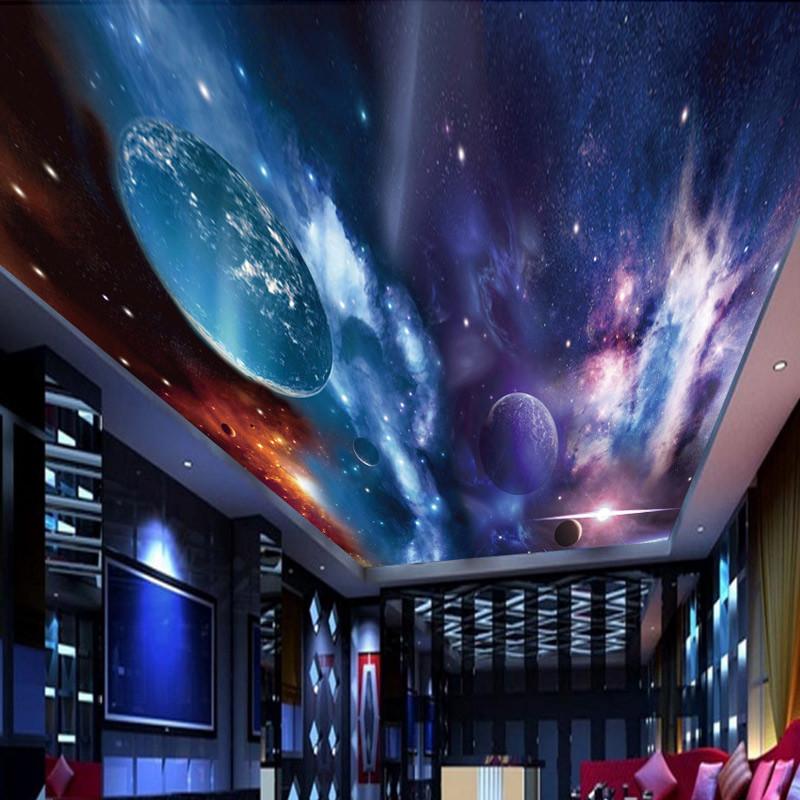 塞拉維宇宙星空天花板吊頂壁紙客廳臥室ktv包房屋頂房頂墻紙墻布裝飾