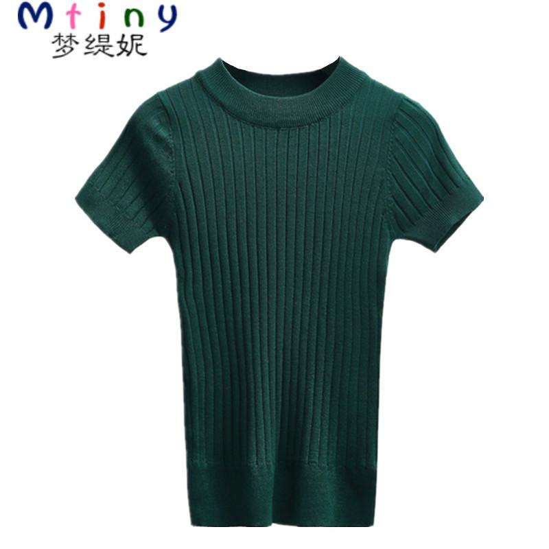 mtiny百搭紧身修身半高领短袖针织衫上衣女螺纹短款夏装新款韩版t恤