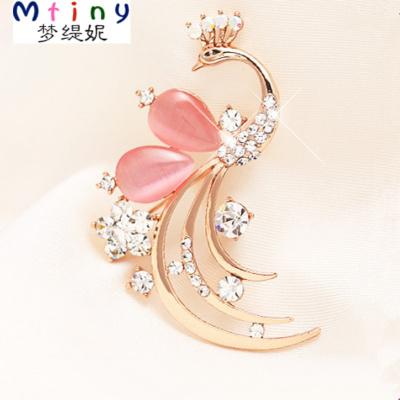 Mtiny包郵 孔雀胸針女韓版可愛胸花領針大氣質可愛別針韓國飾品