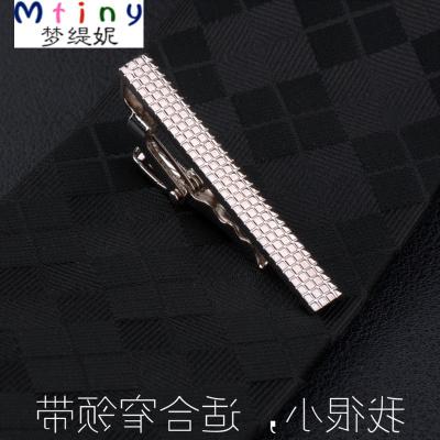 Mtiny男士韩版领带夹窄版时尚银色领带夹子 男士小领带夹3.5CM潮流修身