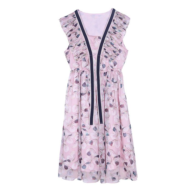 雪纺碎花连衣裙2017夏季女装无袖v领收腰显瘦印花中长款沙滩裙子图片