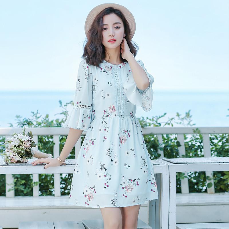 【新款2017】2017夏季新款雪纺碎花小清新连衣裙软妹可爱小仙女气质