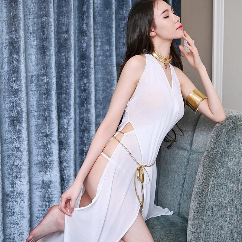 opzc性感网纱女情趣内衣宽松吊带透明薄纱蕾丝长裙 白色 均码