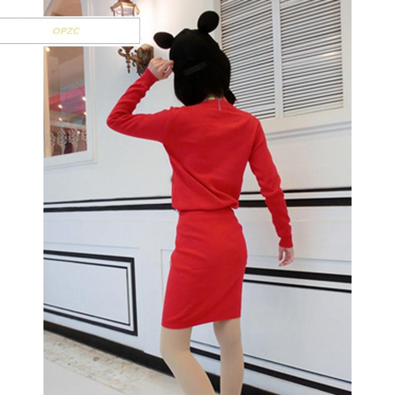 opzc韩版秋冬新款甜美可爱减龄冰淇淋图案拼接毛球上衣 包臀半身裙