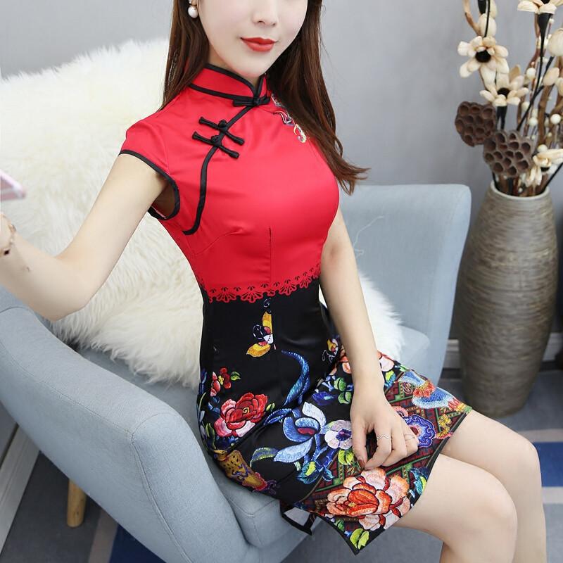 opzc旗袍裙新款春夏女装时尚修身显瘦改良短款优雅气质中国风旗袍