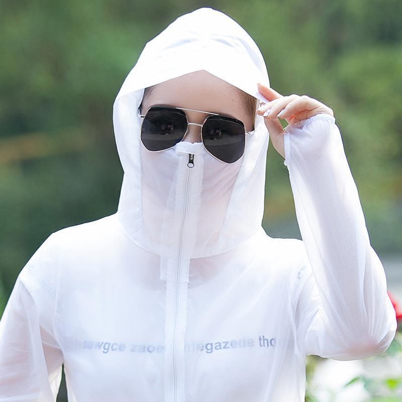 818款防晒衣女夏2018新短款防紫外线长袖连帽遮脸海边沙滩口罩外套服图片