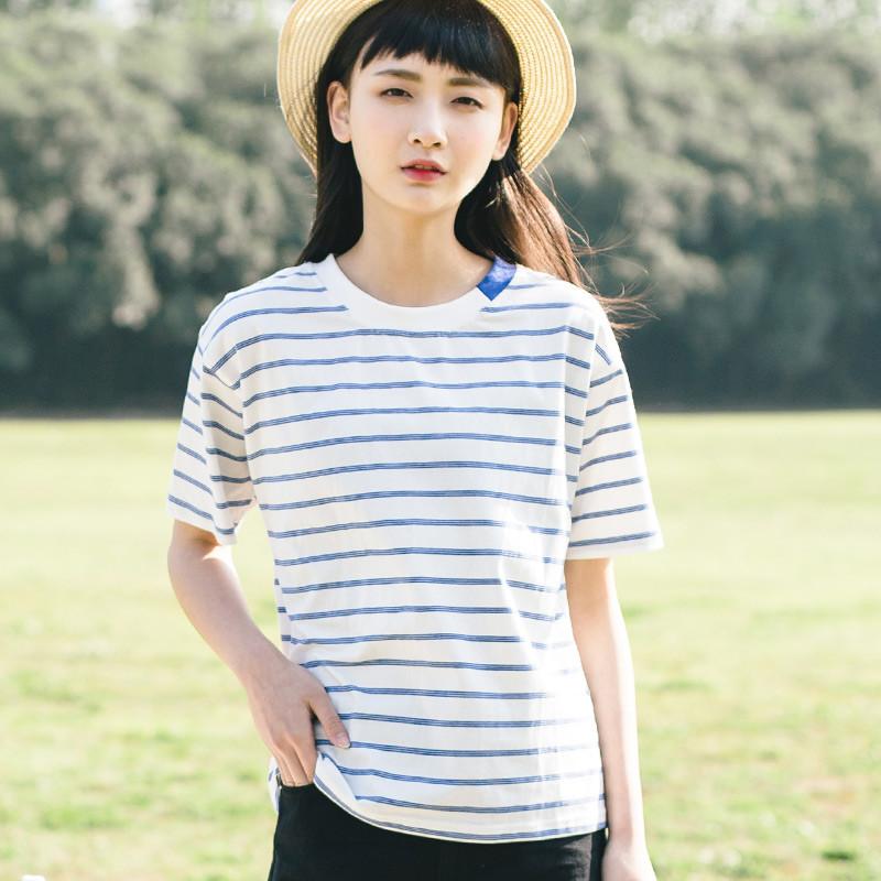 新款上市】衣服日系宽松蓝白条纹t恤女学生简约短袖2018新款显瘦上衣