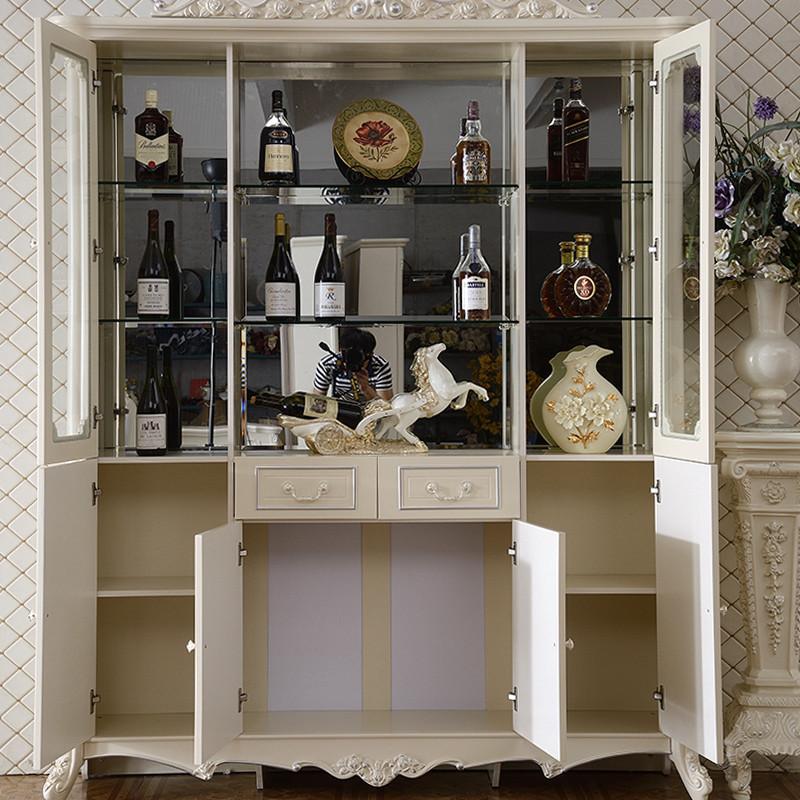 名都王朝 玻璃酒柜欧式四门酒柜 法式隔断柜客厅角柜白色装饰柜储物柜