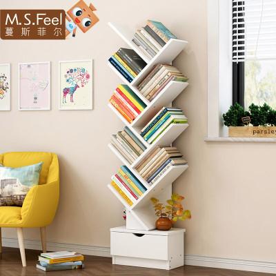 明思鑫德简约现代人造板式书房家具客厅简易落地书架置物架创意收纳格子多层储物架书柜置物架