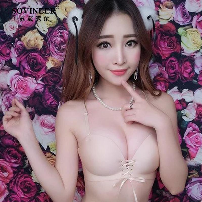 无钢圈小胸聚拢交叉少女美背文胸婚纱无痕胸罩深v性感绑带内衣