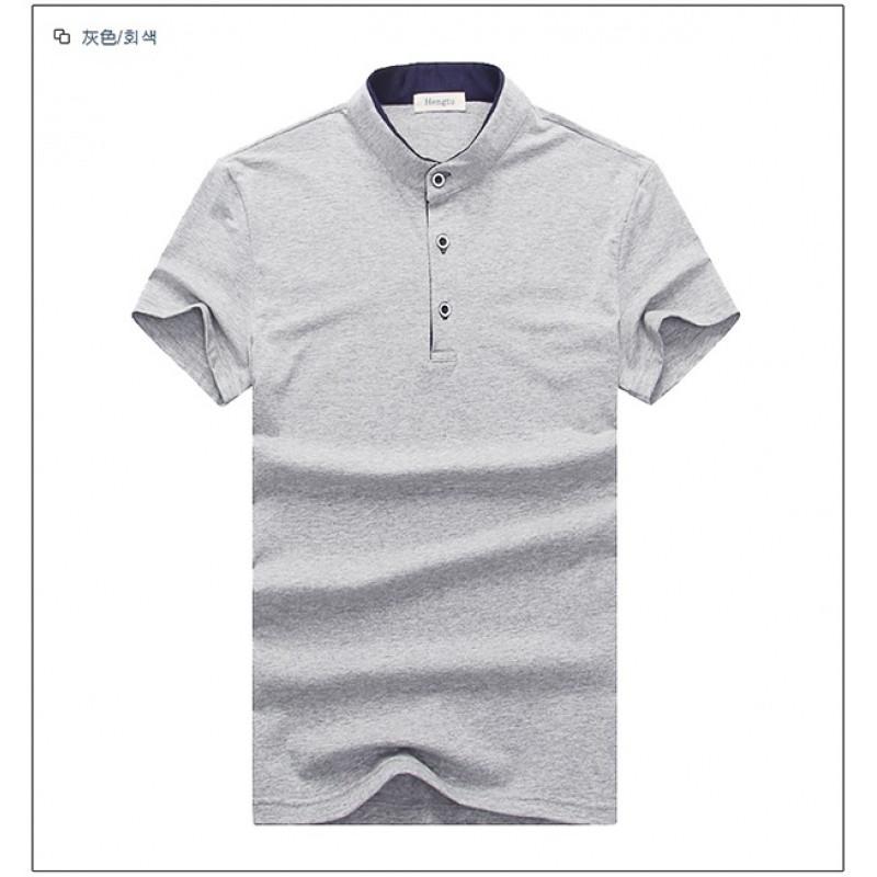 立领男t恤短