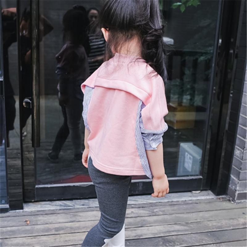 娉语女童拼接条纹套头衫宝宝上衣123456岁中小童韩版儿童长袖t恤春装