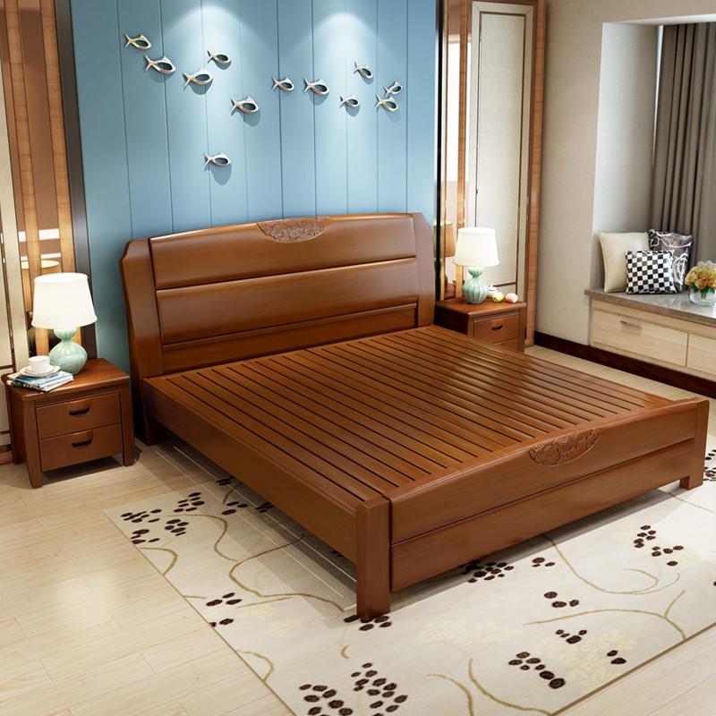 仟嘉恋 床 实木床 双人床 单人床 现代中式木床1.8米1.图片