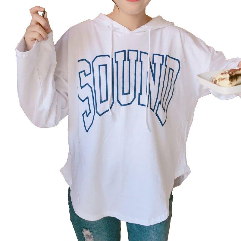 秋季女装学院风甜美可爱宽松字母印花t恤学生长袖系带