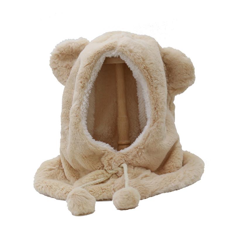 2017冬季亲子帽子可爱萌熊耳朵一体帽子围巾保暖帽 仿