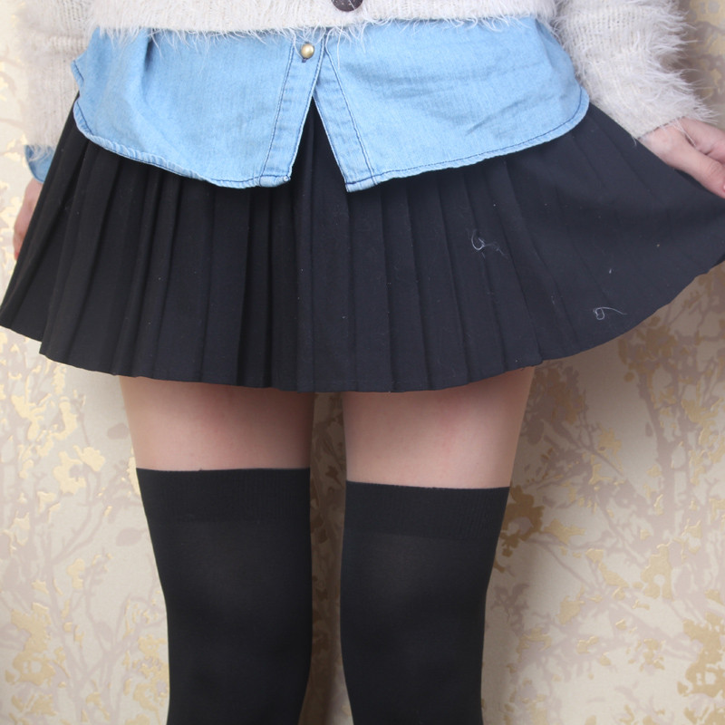 娉语日系防勾丝袜过膝袜 微压力瘦腿 超逼真假高筒连裤袜子黑 丝袜女
